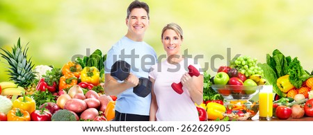 Healthy fitness couple. Health care and diet background. #262626905