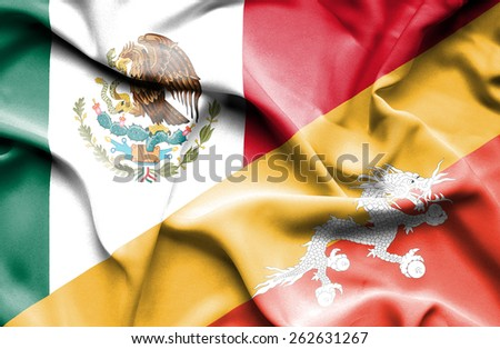 Waving flag of Bhutan and Mexico #262631267