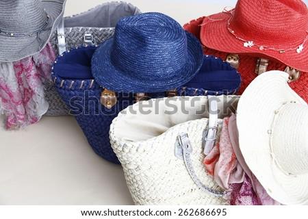 Hats, baskets, basket, accessories, beach equipment, beautiful beach, summer fashion #262686695