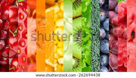 Healthy food background. Collection with different fruits, berries and vegetables #262694438