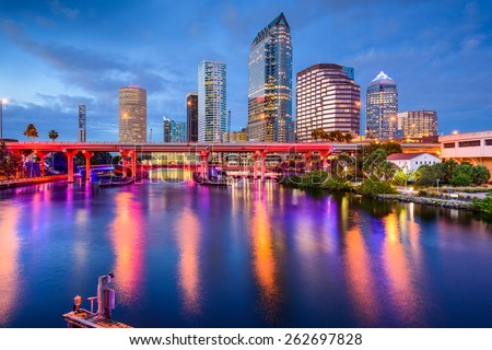 Tampa, Florida, USA downtown skyline on the Hillsborough River.