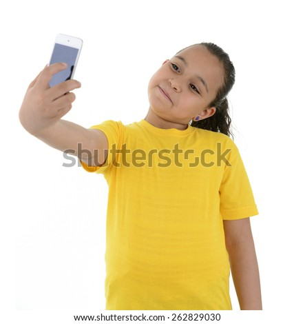 Young Girl Taking a Selfie With Phone Camera Isolated on White Background #262829030