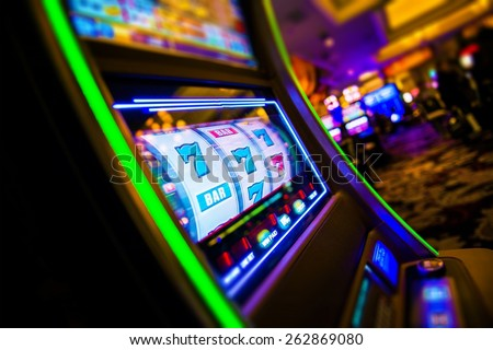 Casino Slot Machines. Las Vegas Strip Digital Slot Machine Closeup. Sin City Gabling. Las Vegas, United States. Royalty-Free Stock Photo #262869080