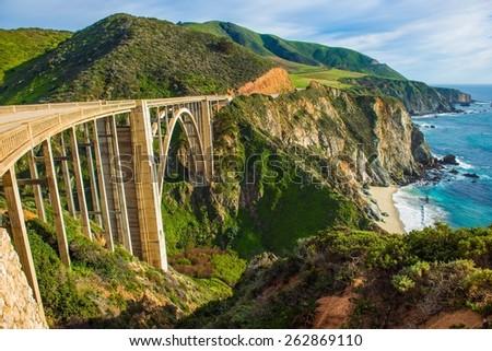 Bixby Creek Bridge in Big Sur, California, United States. Scenic California Highway 1 Royalty-Free Stock Photo #262869110