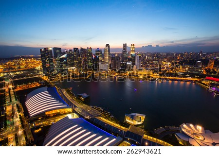 MARINA BAY, SINGAPORE - FEBRUARY 28, 2015: What travelers do not miss when visit to Singapore is watching the city from the top view at the central business area of Singapore.  #262943621