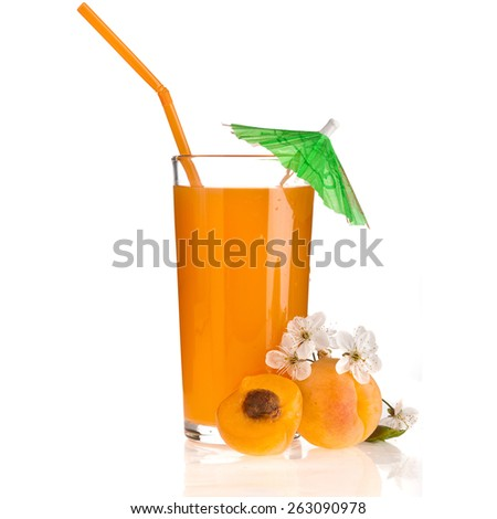 Fresh fruts and  juice full glass with Colored drinking straw   isolated on white background #263090978