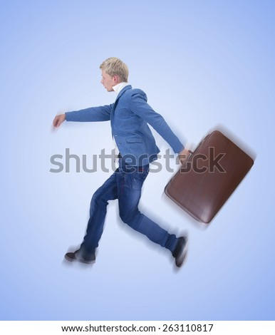 man running with suitcase on white background #263110817