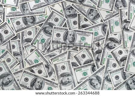 Background of 100 dollar bills Royalty-Free Stock Photo #263344688