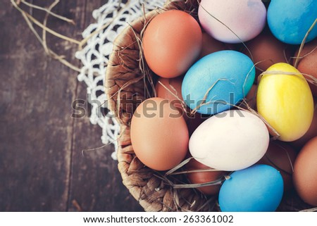 Easter rustic eggs photo composition illustration home village blank with place for your text.