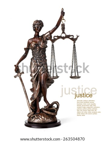 A picture of a Themis statue standing over whitek background