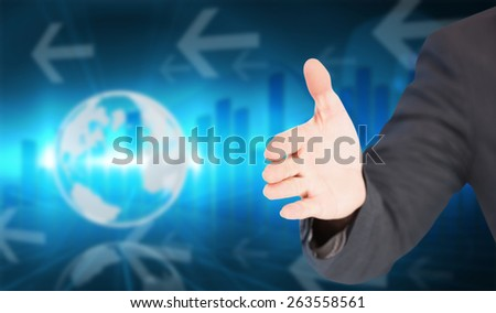 Businessman extending arm for handshake against global business graphic in blue #263558561