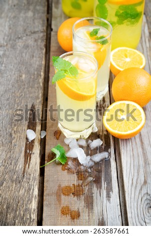 Cold orange soda in a glass on a wooden background #263587661