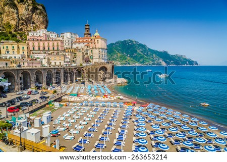 Scenic picture-postcard view of the beautiful town of Atrani at famous Amalfi Coast with Gulf of Salerno, Campania, Italy