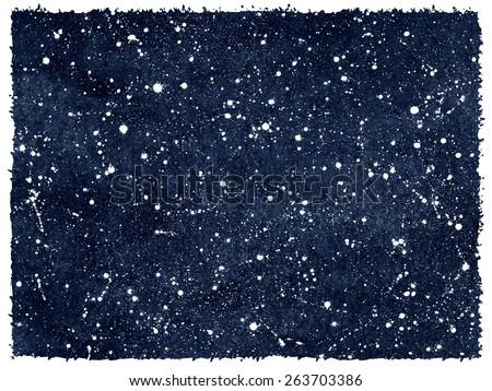 Dark blue hand drawn watercolor night sky with stars. Rough, artistic edges. Splash texture. Raster version.