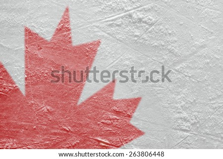 Fragment of the image of the Canadian flag on a hockey rink