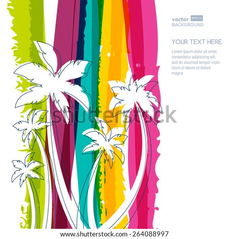 Palm tree silhouette and rainbow stripes watercolor background with place for text. Concept for travel agency, tropical resort, beach hotel, spa. Summer vacation symbol. #264088997