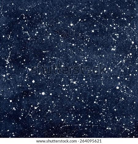 Dark blue hand drawn watercolor night sky with stars. Splash texture. Raster version.