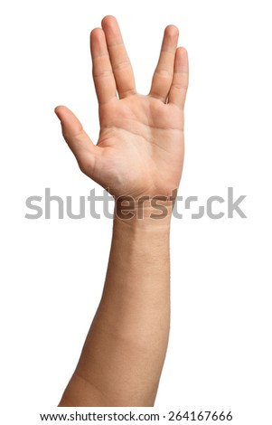A man hand doing the Vulcan salute on a white background. Vulcan hand salute against. Spock hand. Alpha