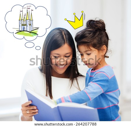 family, childhood, leisure and people concept - happy mother and daughter with book reading fairytale at home