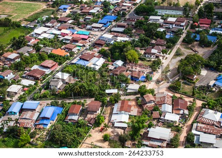Beautiful small green village from above #264233753