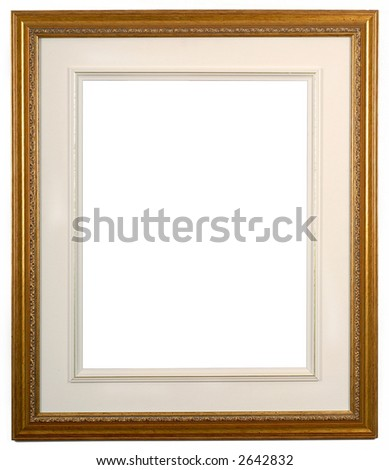 isolated picture frame of wood and gold with matte