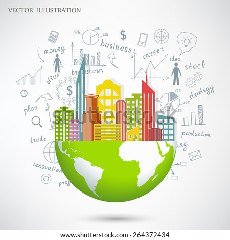 Cityscape in the globe against the background of an animated graphs and charts business strategy plan concept idea. Vector illustration modern template design #264372434