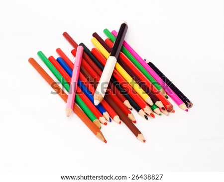 Assortment of  pencils with shadow on white background #26438827
