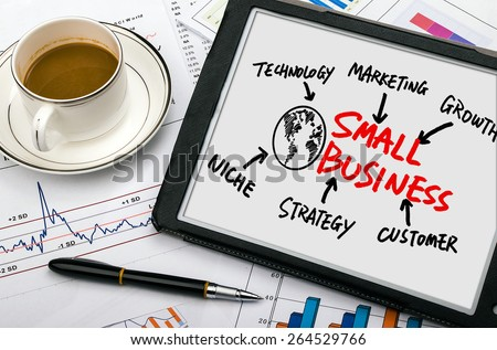 small business concept diagram hand drawing on tablet pc #264529766