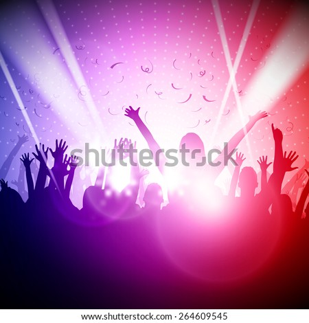Party People in Club | Vector Background - EPS10 Editable Design  #264609545