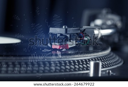 Turntable playing music with hand drawn cross lines concept on background #264679922