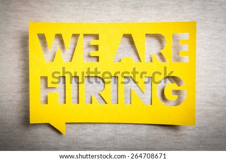 """""""We are hiring"""" yellow banner on white texture background. Job board design, template. #264708671"""