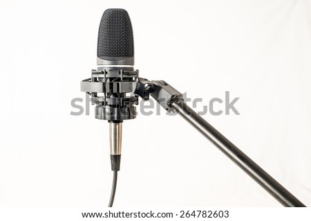 Isolated Microphone on stand against white background
