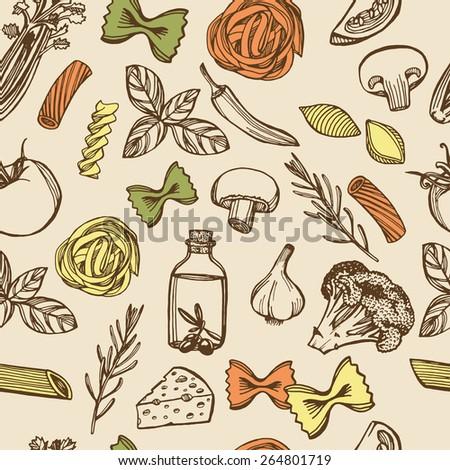 Hand drawn Italian pasta seamless pattern. Colorful pasta, cheese, broccoli, garlic, chili pepper, rosemary, celery, olive oil, basil, champignon, tomato #264801719
