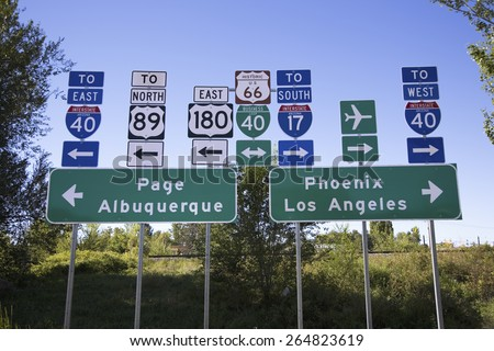 Road signs to Interstate 40 and everywhere in all directions in Flagstaff Arizona