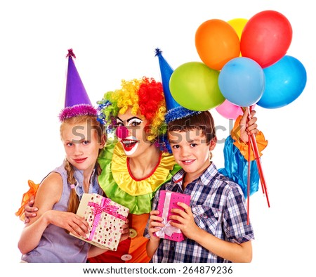 Birthday party group of teen people with female clown taking balloons . Isolated. #264879236