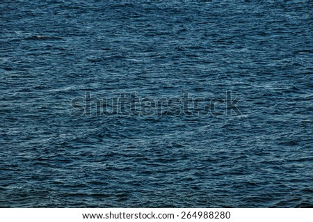Blue Still Sea Water With Ripple. Natural Background Photo Texture #264988280