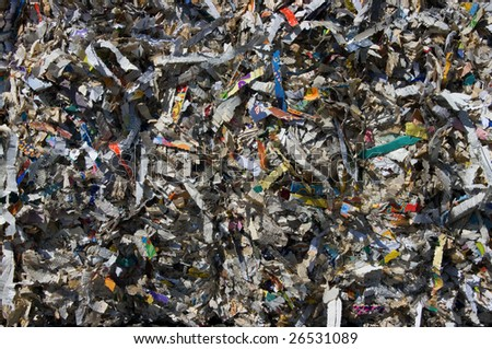 bale of books and magazine shredded for recycling #26531089
