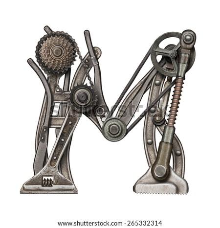 Mechanical metal alphabet letter M