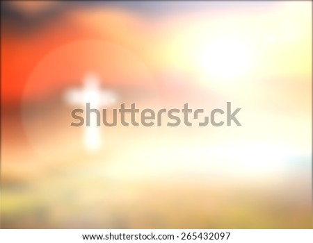 Easter Sunday concept: Blurred white cross over sunrise with amazing light background #265432097