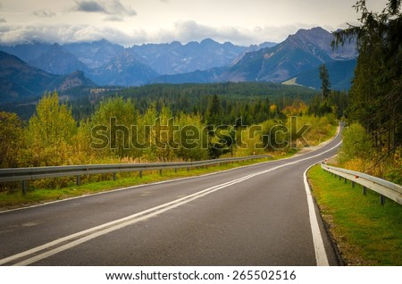 Road in mountains. Winding route leads to the high summits in Tatra mountains in Poland. #265502516
