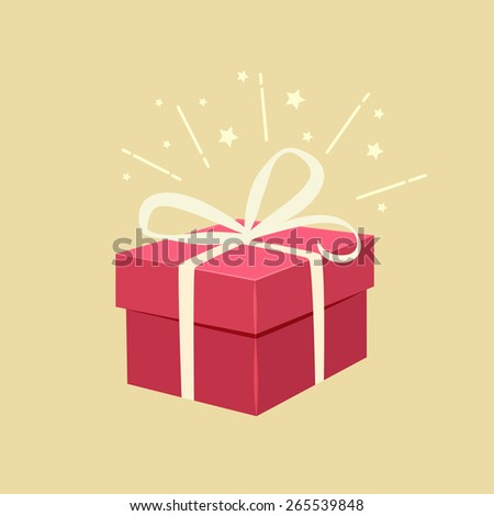 Romantic red gift box decorated with a bow and sparkle effect on a beige background for Valentines, a wedding, anniversary or Christmas celebration, vector illustration #265539848