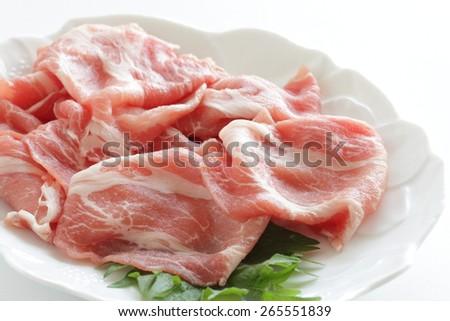 Freshness sliced pork on Shiso from Japan #265551839