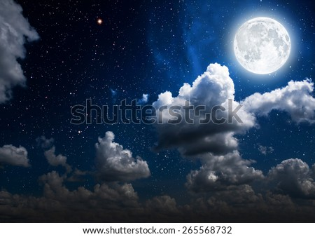 backgrounds night sky with stars, moon and clouds.  Elements of this image furnished by NASA #265568732