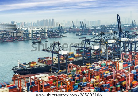 industrial port with containers #265603106