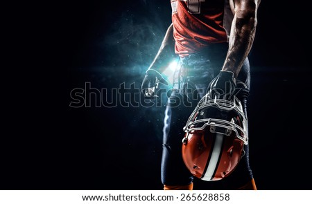 American football sportsman player in stadium Royalty-Free Stock Photo #265628858