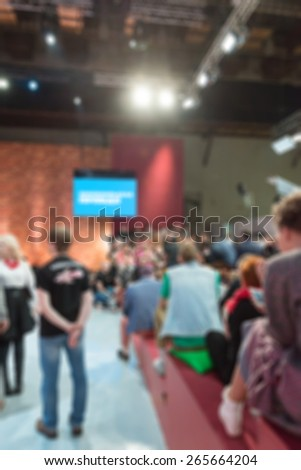TV show filming backstage abstract blur background shot with shallow depth of field #265664204