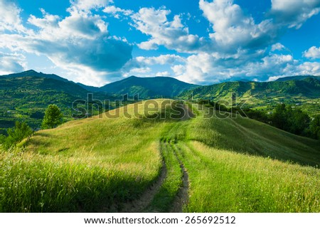 A spring landscape on the hills. Royalty-Free Stock Photo #265692512