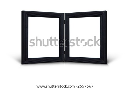 Two black hinged picture frames on white background