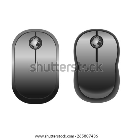 Computer cordless  Black Mouses with globe. Vector illustration for web design, icons, signs and stickers #265807436