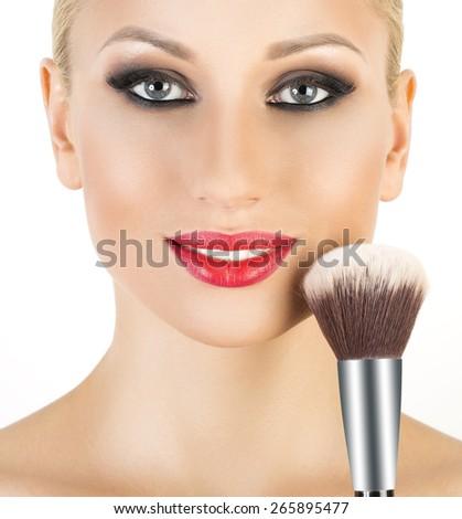 Makeup. Make-up Applying closeup. Cosmetic Powder Brush for Make up. #265895477